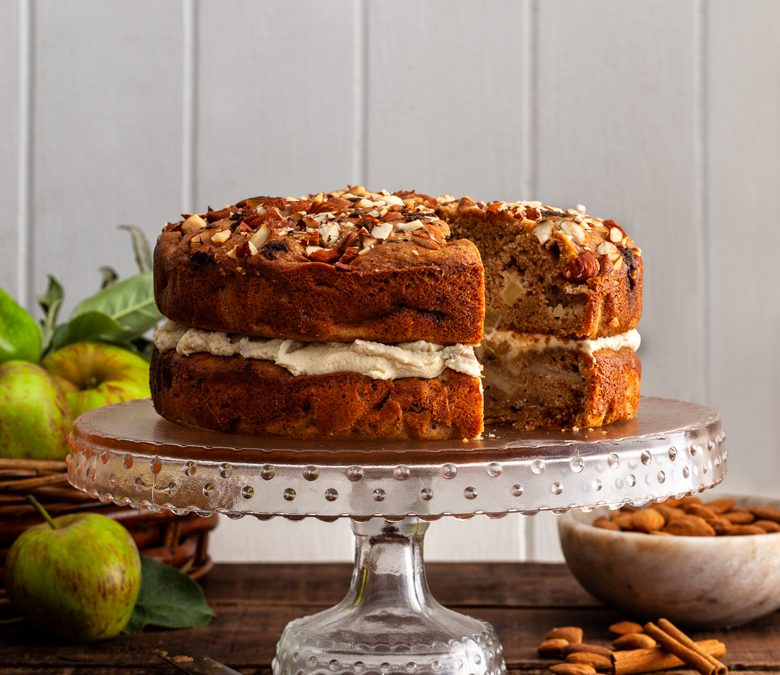 Apple and almond cake with caramelised apple, mascarpone filling