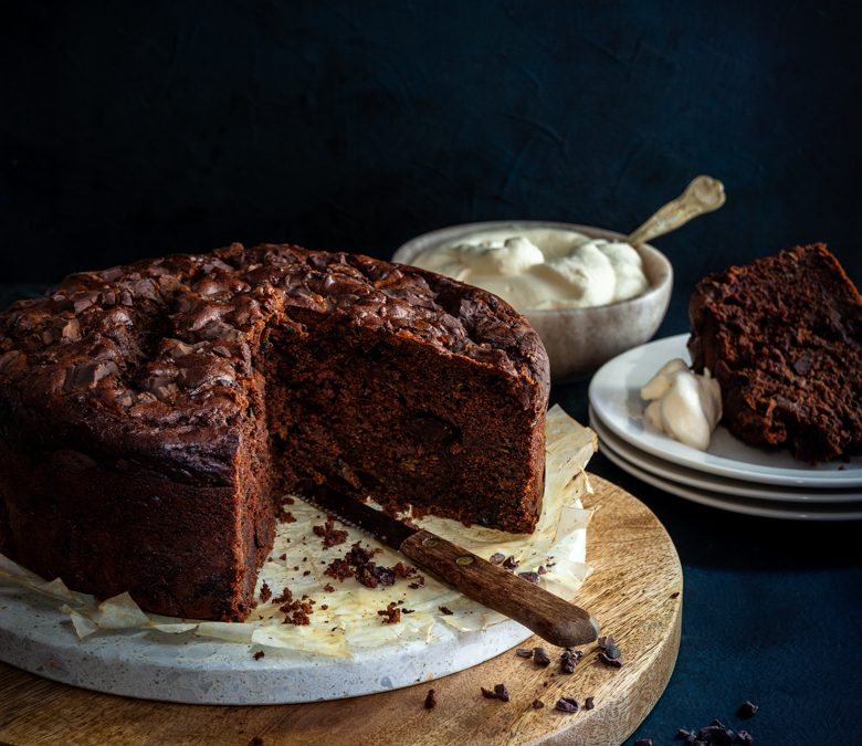Courgette, date and dark chocolate cake