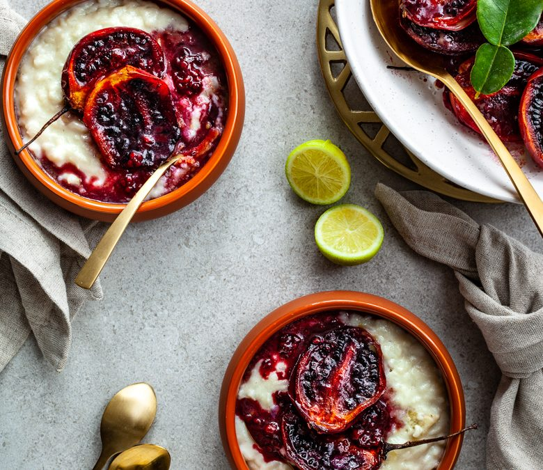 Lime and coconut rice pudding with roast tamarillos