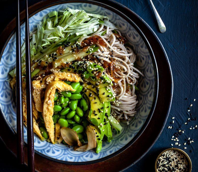 Soba noodle salad, sweet soy and sesame dressing, edamame beans and egg 'noodles'