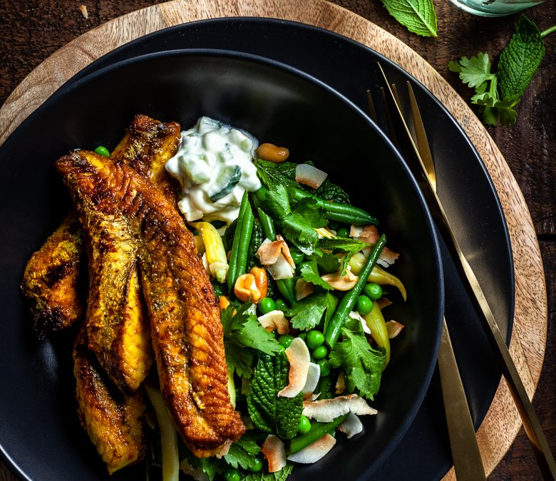 South Indian inspired fish with green bean, coconut and coriander salad