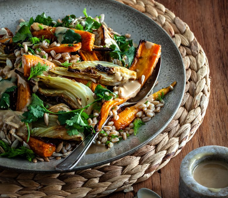 Roast fennel and carrot salad with warm herby grains and tahini