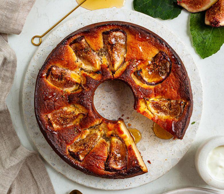 Ricotta, honey and fig cake