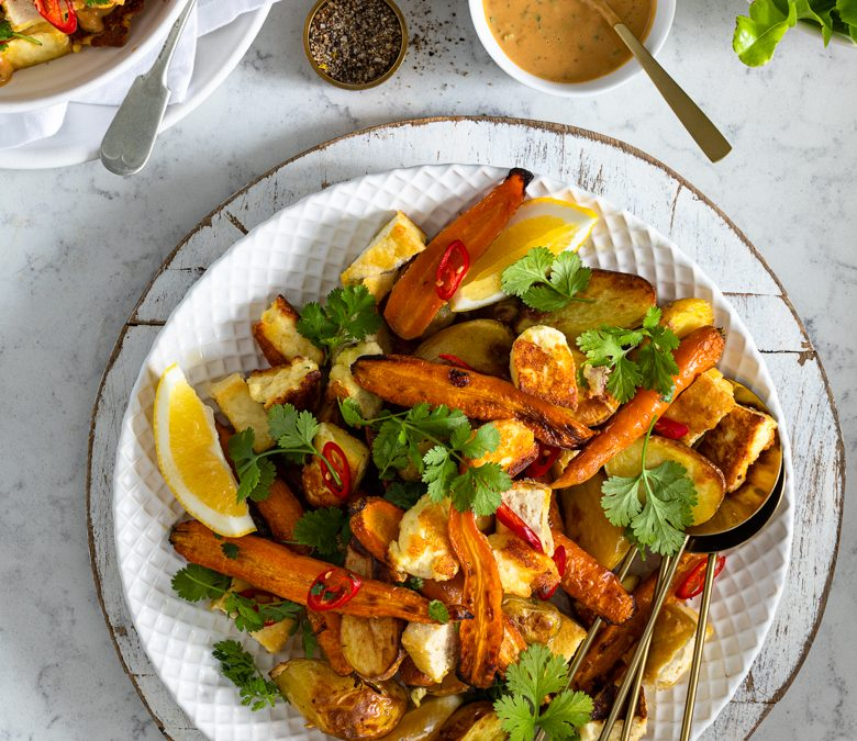 Roast carrot and paneer salad with peanut coriander dressing